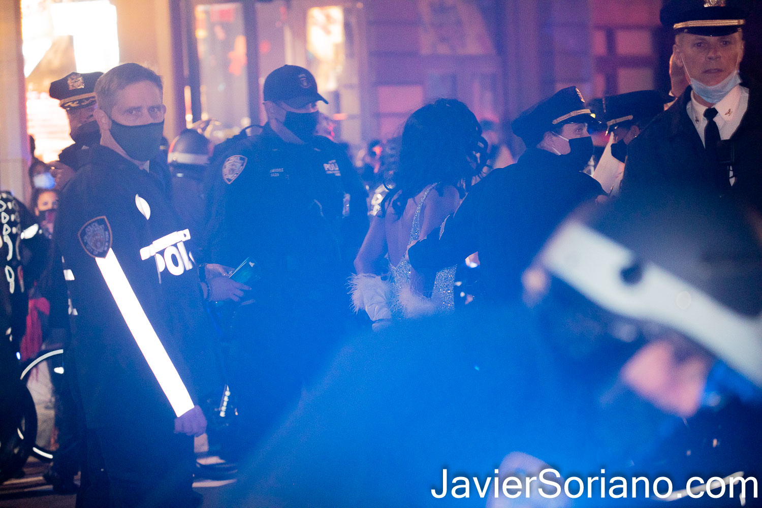 "Thursday, November 5, 2020. Manhattan, New York City – Rally and march ""WE CHOOSE FREEDOM."" Trans rights activists demand respect for Black Trans women and Black Trans men. NYPD officers arrested Joel Rivera. Joel was one of the organizers. Photo by Javier Soriano/www.JavierSoriano.com"