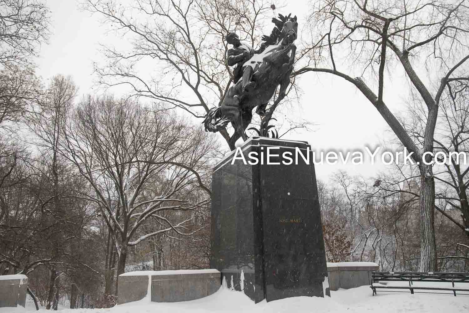 Thursday, December 17, 2020. Manhattan, New York City – Winter storm Gail in Central Park/Statue depicting Cuban patriot and author José Martí.   Photo by Javier Soriano/www.JavierSoriano.com