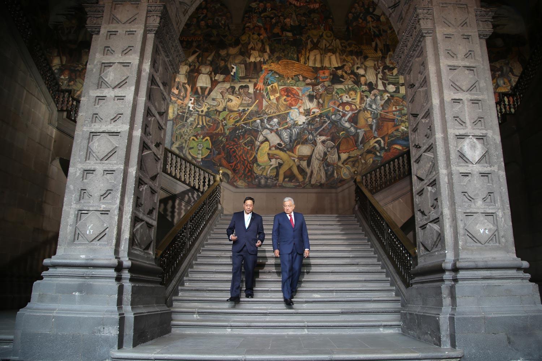 Miércoles 24 de marzo de 2021. Ciudad de México – Presidente de México, Andrés Manuel López Obrador y presidente del Estado Plurinacional de Bolivia, Luis Alberto Arce Catacora. Foto por el Gobierno de México.
