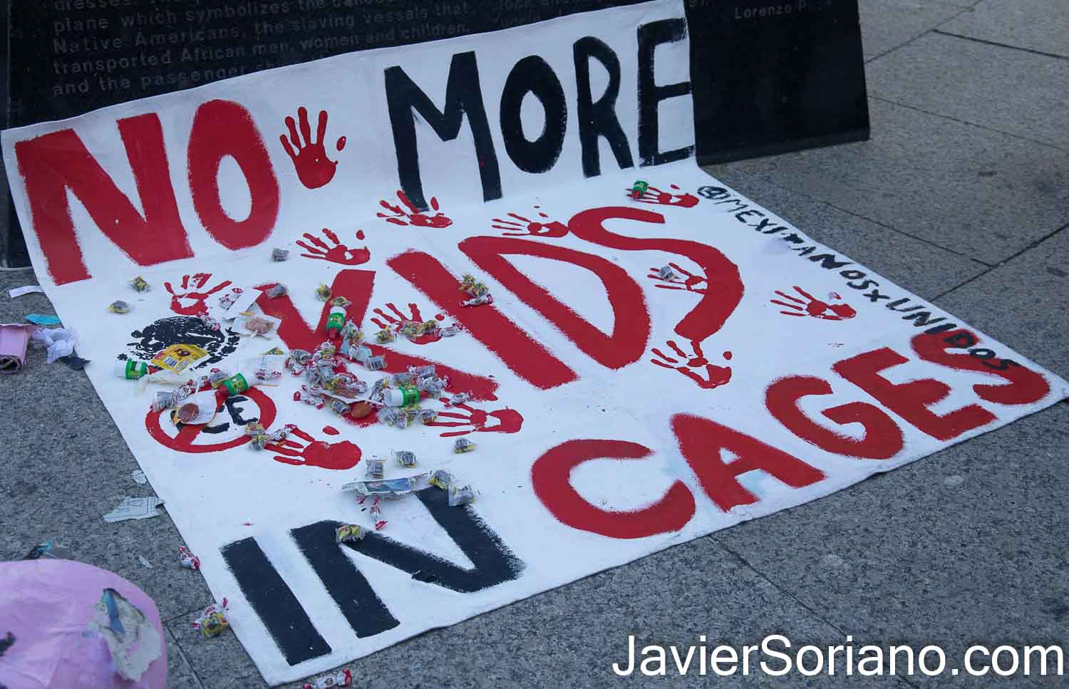 "Sunday, March 7, 2021. New York City – The group Mexicanos Unidos held the rally and march ""NO MORE KIDS IN CAGES."" Joe Biden and Kamala Harris reopened two concentration camps for migrant children. There are thousands of kids in cages. Photo by Javier Soriano/www.JavierSoriano.com"