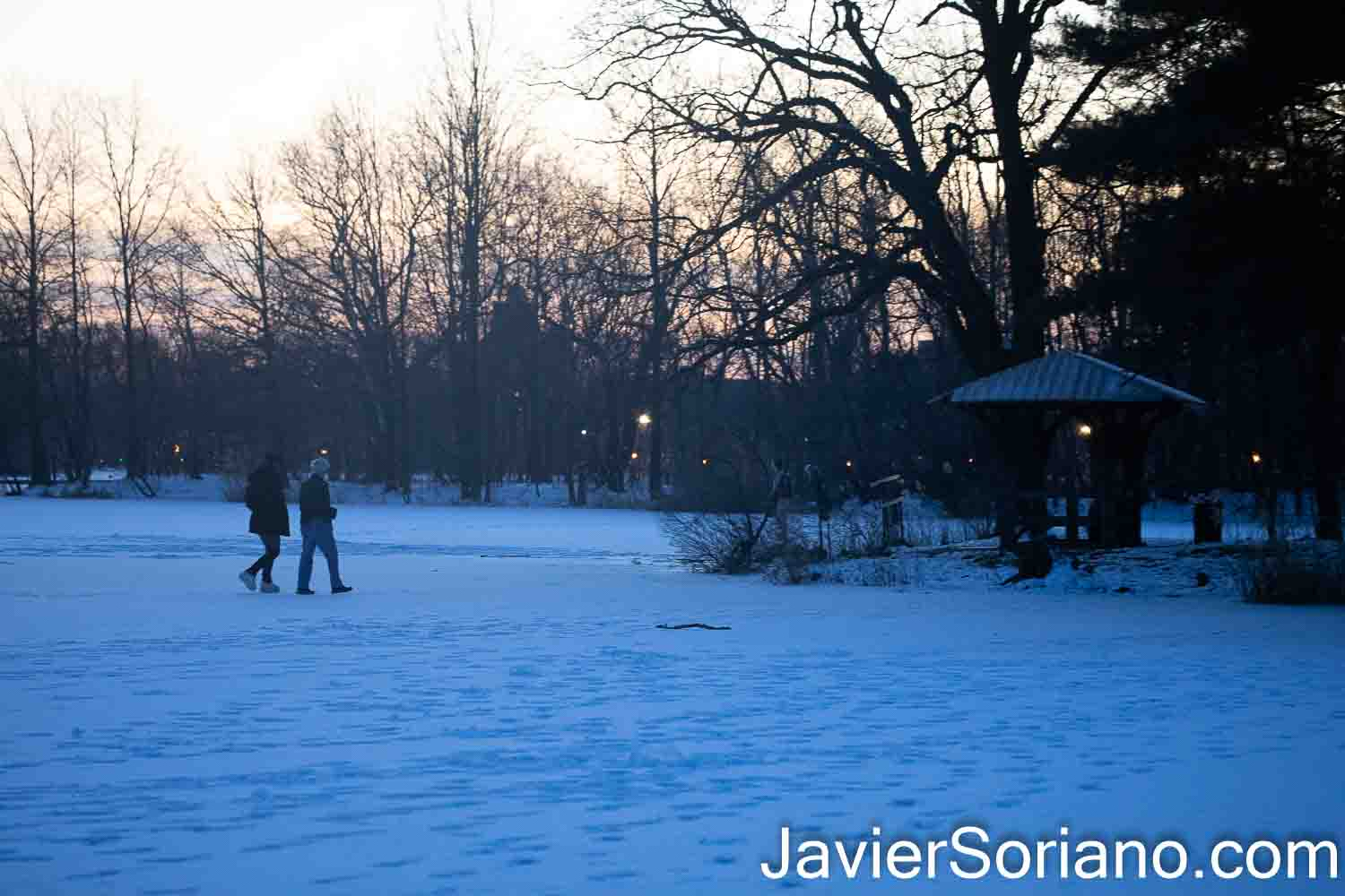Sunday, February 21, 2021. Brooklyn, New York City – Women walking on a frozen lake in Prospect Park. Photo by Javier Soriano/www.JavierSoriano.com