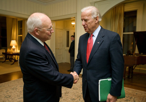 FILE PHOTO Vice President Dick Cheney bids farewell to Vice President-elect Joe Biden Thursday, November 13, 2008, following their nearly hour-long visit at the Vice President's Residence at the U.S. Naval Observatory in Washington, D.C. White House photo by David Bohrer/wikipedia.org