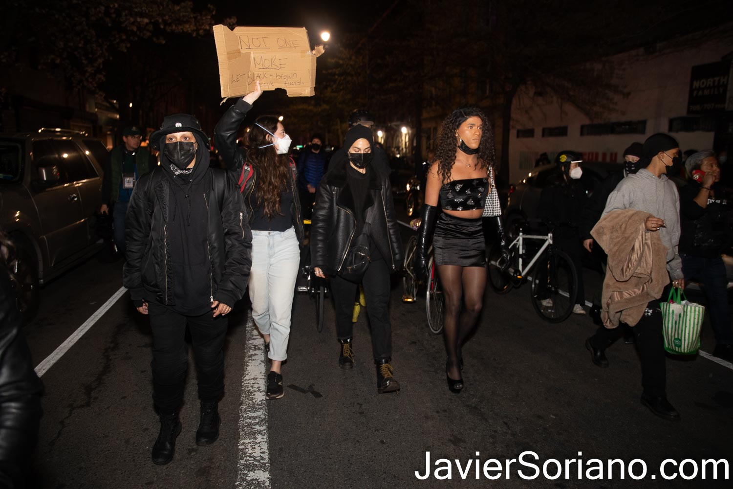Friday, April 16, 2021. Brooklyn, New York City - The group Mexicanos Unidos and other activists gathered at Barclays Center in Brooklyn to demand justice for Adam Toledo. After the rally, peaceful protesters marched through different streets in Brooklyn. One of the demonstrators was Trans activist Joel Rivera.  On Monday, March 29, 2021, Chicago police officer, Eric Stillman murdered Adam Toledo. Adam was a 13 years-old Latino boy.   Photo by Javier Soriano/www.JavierSoriano.com