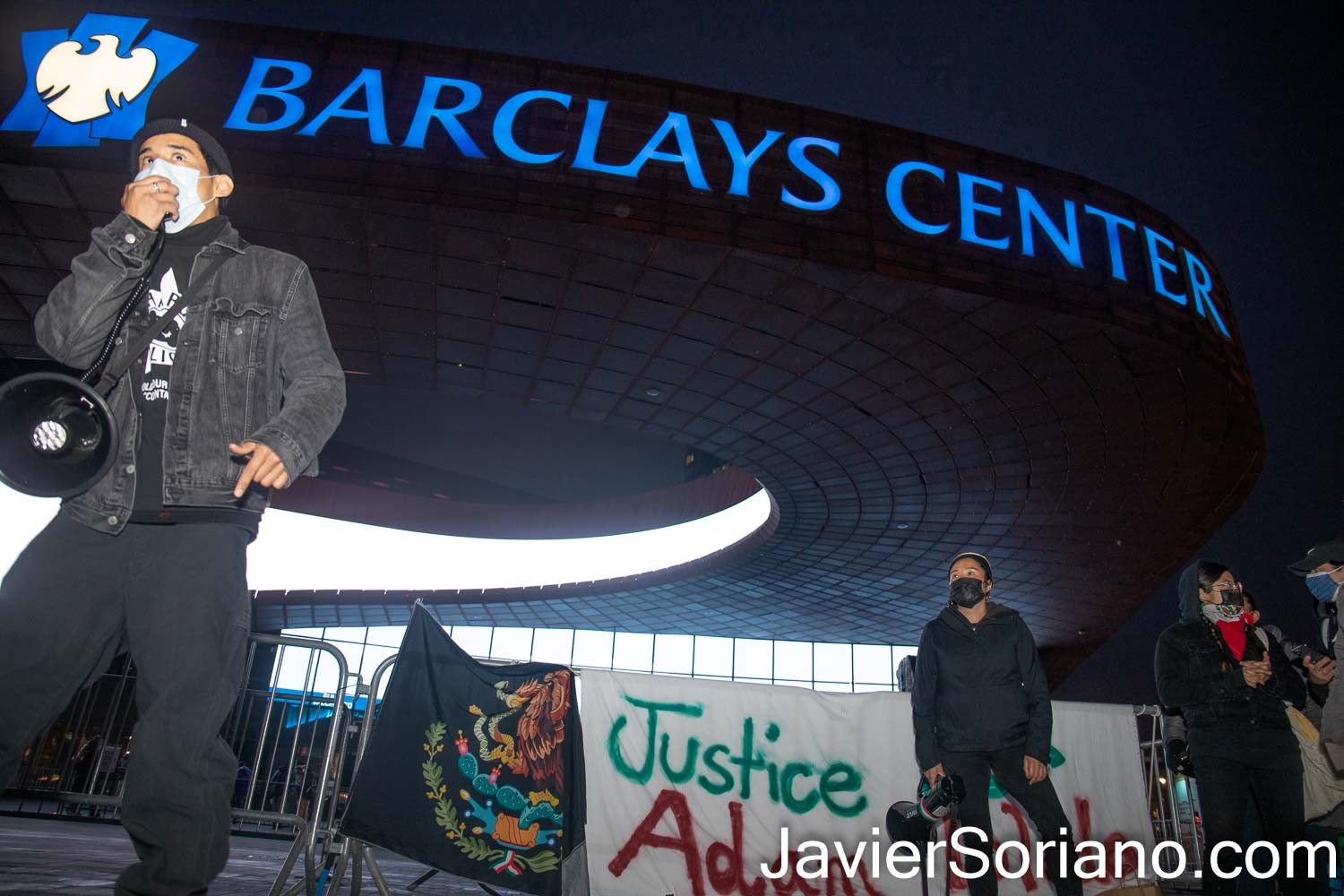 Friday, April 16, 2021. Brooklyn, New York City - The group Mexicanos Unidos and other activists gathered at Barclays Center in Brooklyn to demand justice for Adam Toledo. On Monday, March 29, 2021, Chicago police officer, Eric Stillman murdered Adam Toledo. Adam was a 13 years-old Latino boy. Photo by Javier Soriano/www.JavierSoriano.com