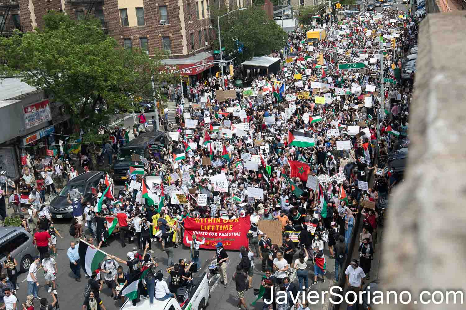 Saturday, May 22, 2021. New York City - Thousands of anti-zionist Palestinians, Jews, Native Americans, Latinas, Latinos, Blacks, Asians, and others rallied and marched to DEFEND PALESTINE. Demonstrators gathered at Queens BLVD and 45 Street in the borough of Queens. After the rally, they marched to Astoria, Jackson Heights, etc. in the same borough of Queens. Photo by Javier Soriano/www.JavierSoriano.com