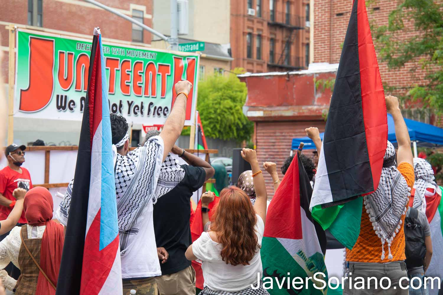Saturday, June 19, 2021. Brooklyn, New York City – On June 19  is Juneteenth National Independence Day. Palestinians joined the December 12th movement to commemorate Juneteenth.  Photo by Javier Soriano/www.JavierSoriano.com