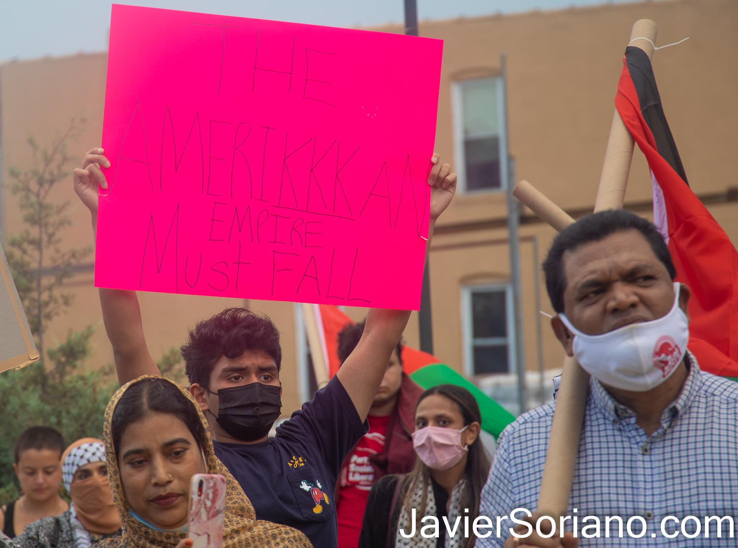 """Saturday, July 17, 2021. Brooklyn, New York City - The organization Within Our Lifetime held a rally and march in Kensington (the heart of the Bangladeshi community) """"in defense of Silwan and ALL of Palestine."""" Photo by Javier Soriano/www.JavierSoriano.com"""