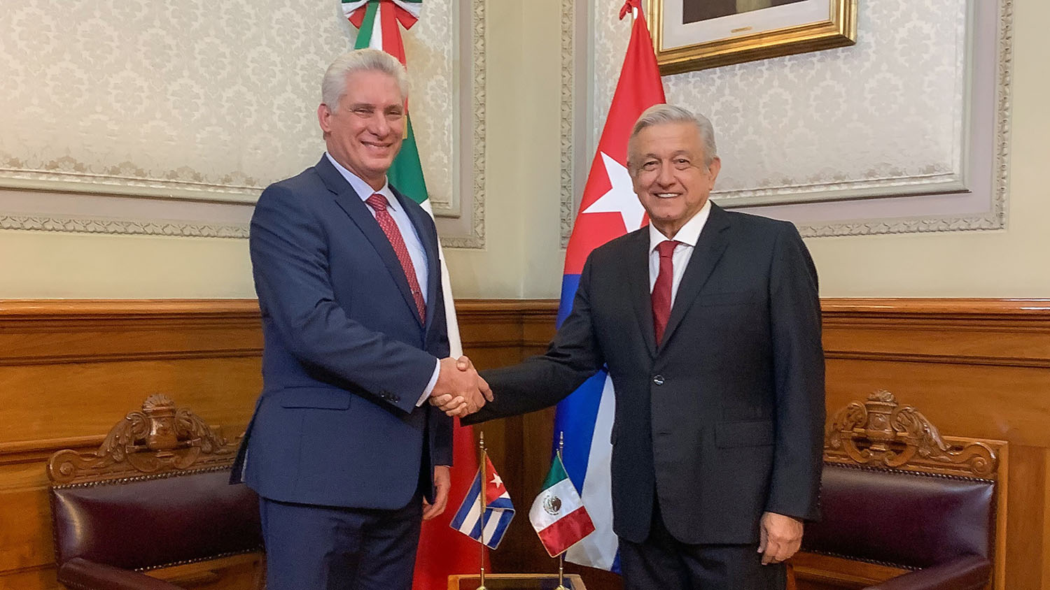 Saturday, December 1, 2018. Mexico City - Miguel Díaz-Canel Bermúdez, President of the Republic of Cuba and Andrés Manuel López Obrador, President of Mexico. Photo by the Mexican government.