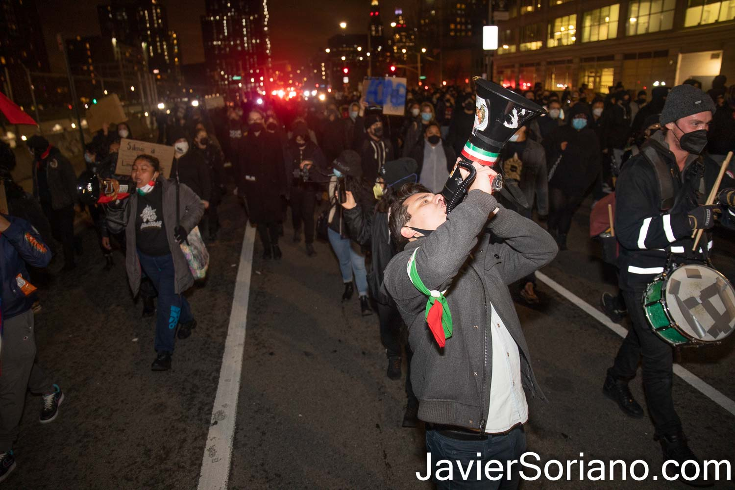 Friday, April 16, 2021. Brooklyn, New York City - The group Mexicanos Unidos and other activists gathered at Barclays Center in Brooklyn to demand justice for Adam Toledo. After the rally, peaceful protesters marched through different streets in Brooklyn.  On Monday, March 29, 2021, Chicago police officer, Eric Stillman murdered Adam Toledo. Adam was a 13 years-old Latino boy.   Photo by Javier Soriano/www.JavierSoriano.com